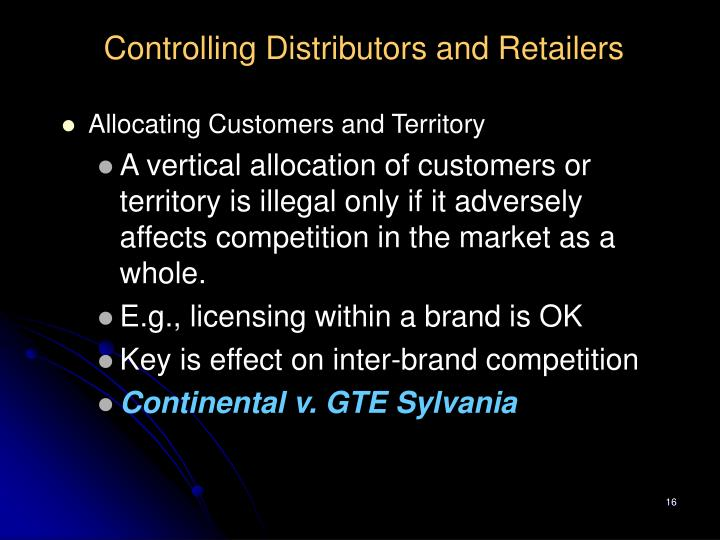 Controlling Distributors and Retailers