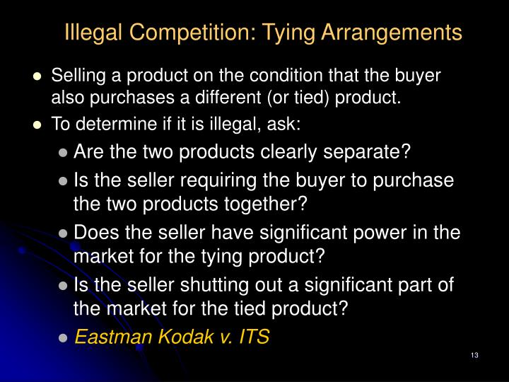 Illegal Competition: Tying Arrangements