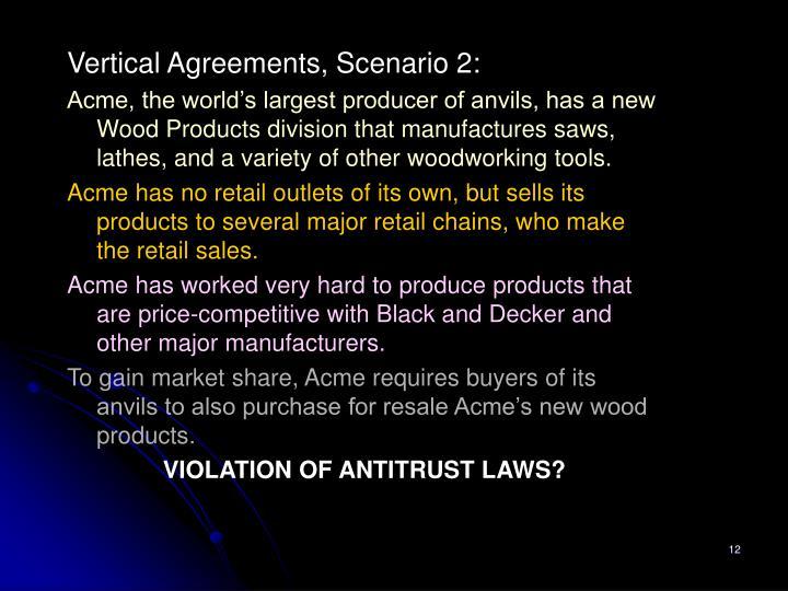 Vertical Agreements, Scenario 2: