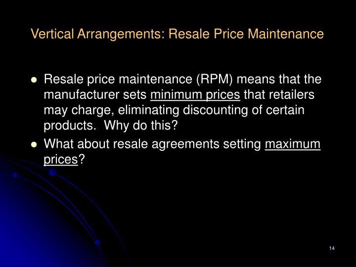 Vertical Arrangements: Resale Price Maintenance