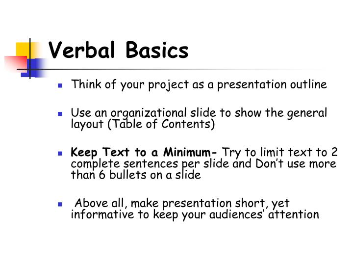 Verbal Basics