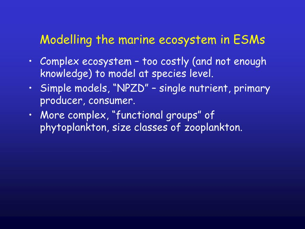 Modelling the marine ecosystem in ESMs