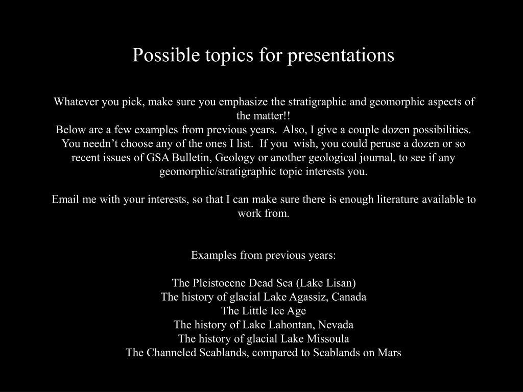 Possible topics for presentations