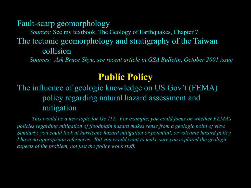 Fault-scarp geomorphology