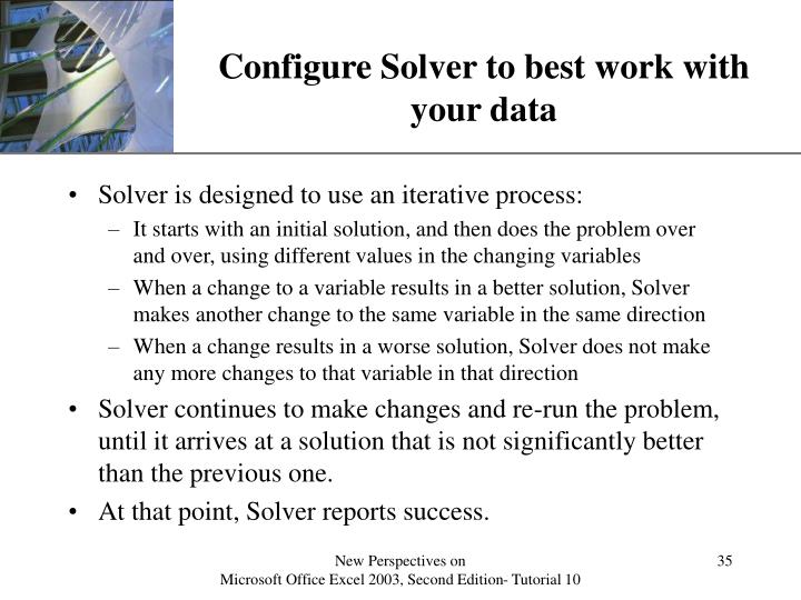 Configure Solver to best work with your data