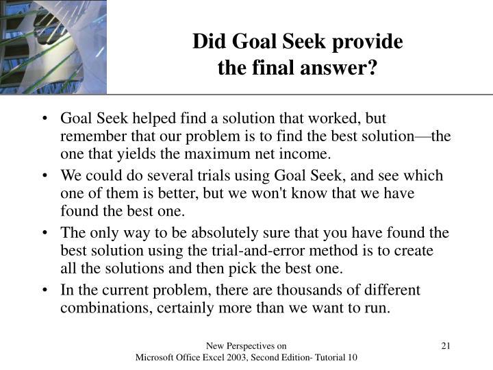 Did Goal Seek provide