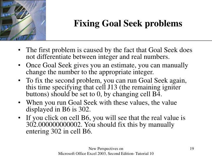 Fixing Goal Seek problems