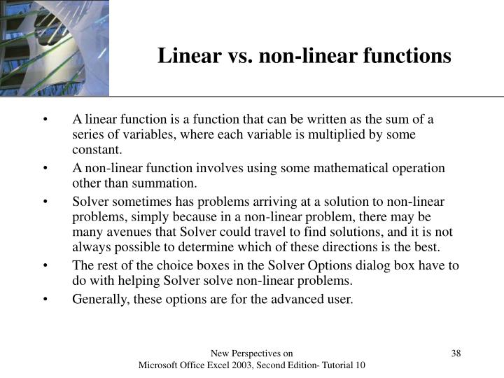 Linear vs. non-linear functions