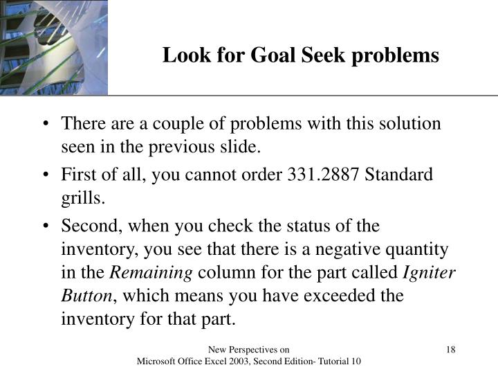 Look for Goal Seek problems