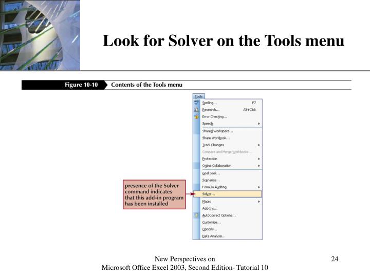 Look for Solver on the Tools menu