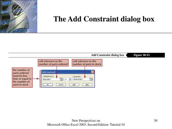 The Add Constraint dialog box