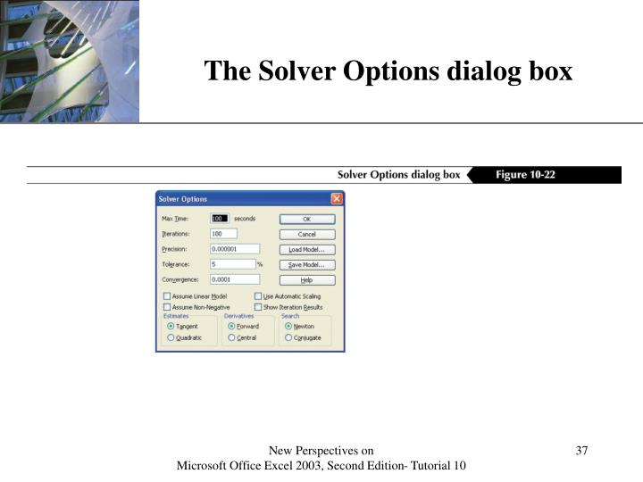 The Solver Options dialog box