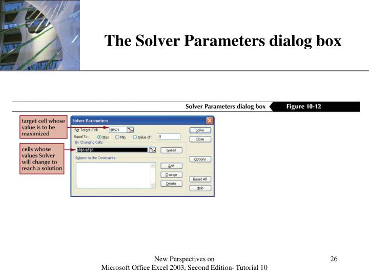 The Solver Parameters dialog box