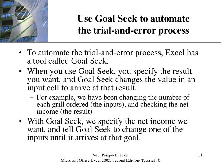 Use Goal Seek to automate