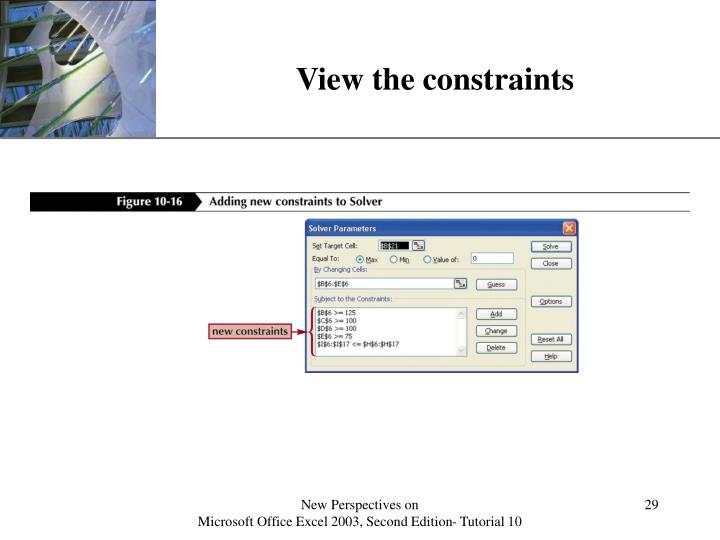 View the constraints