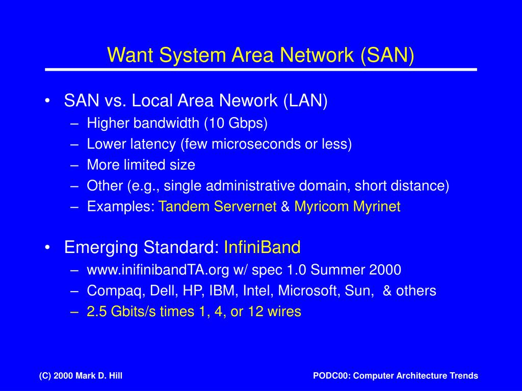 Want System Area Network (SAN)