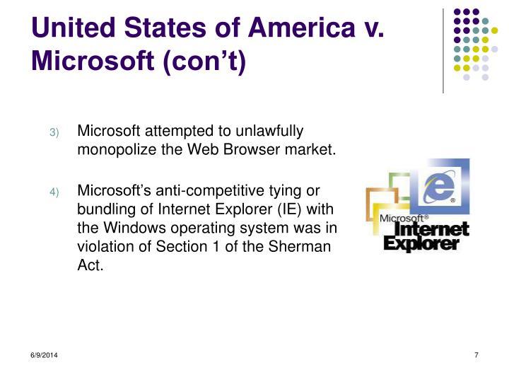 United States of America v. Microsoft (con't)