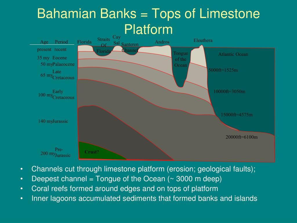 Bahamian Banks = Tops of Limestone Platform