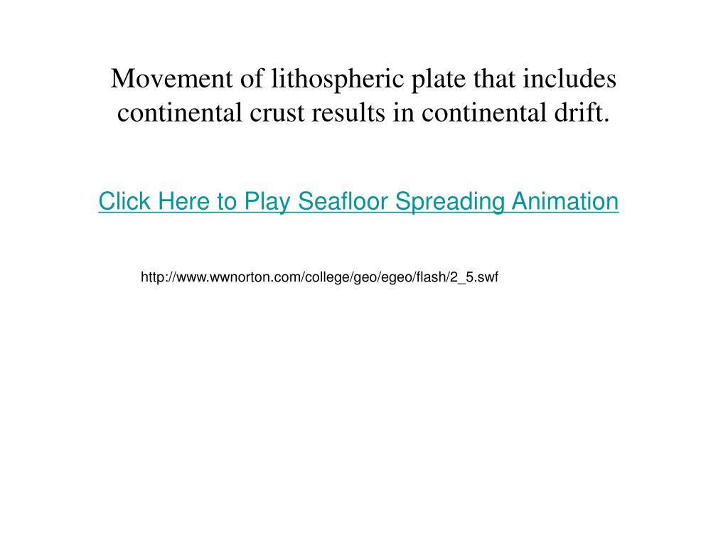 Movement of lithospheric plate that includes continental crust results in continental drift.