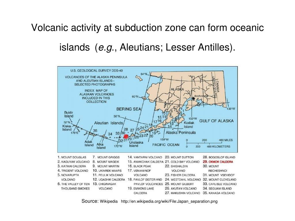 Volcanic activity at subduction zone can form oceanic islands