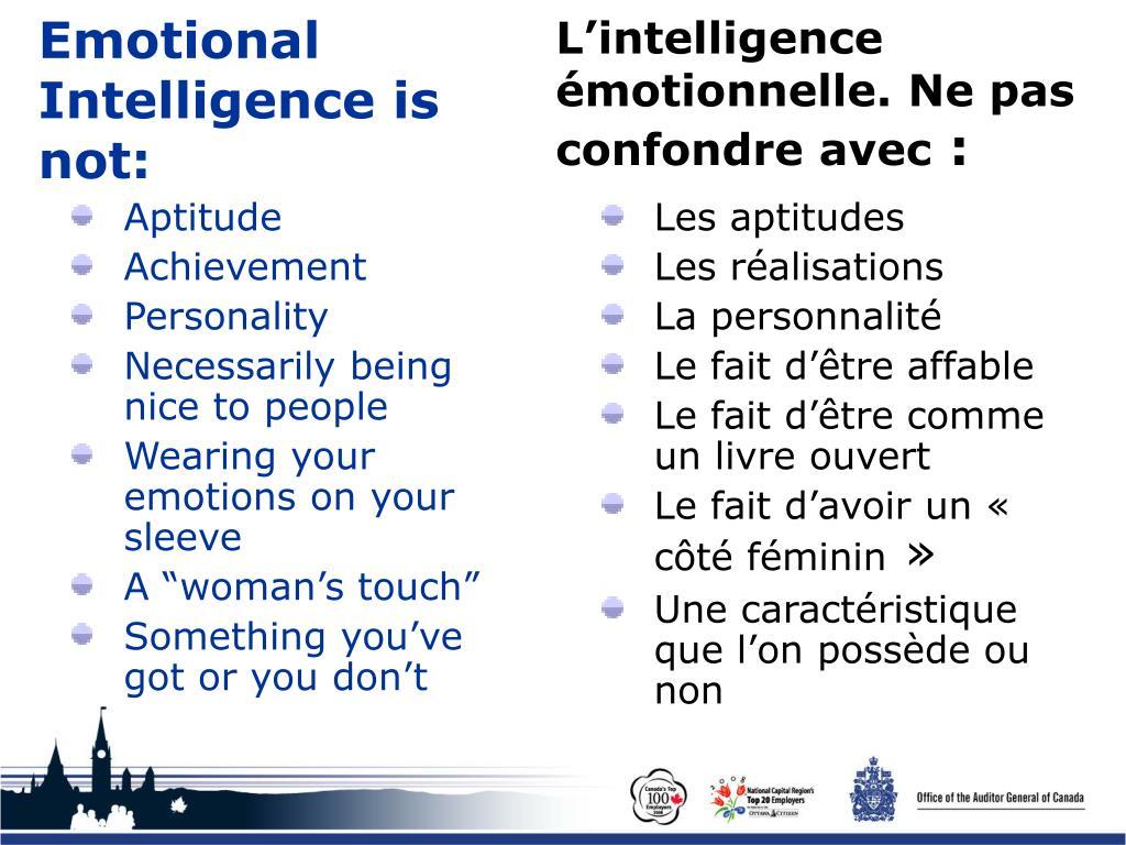 L'intelligence émotionnelle. Ne pas confondre avec