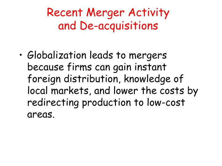 Recent Merger Activity