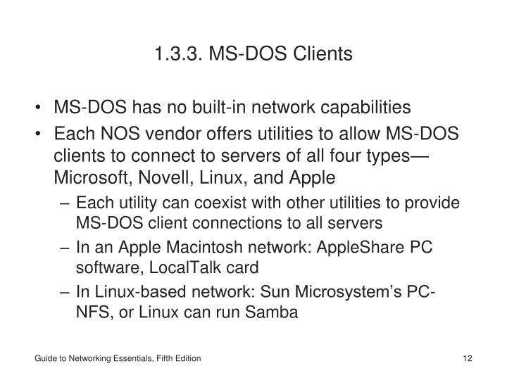 1.3.3. MS-DOS Clients