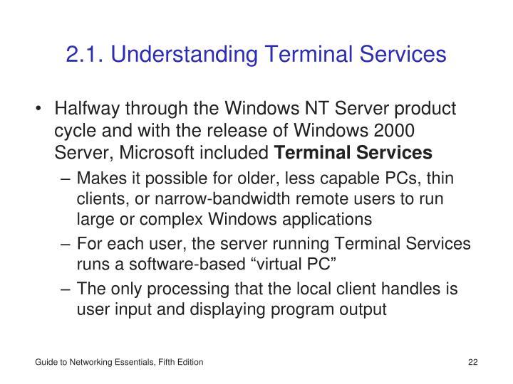 2.1. Understanding Terminal Services
