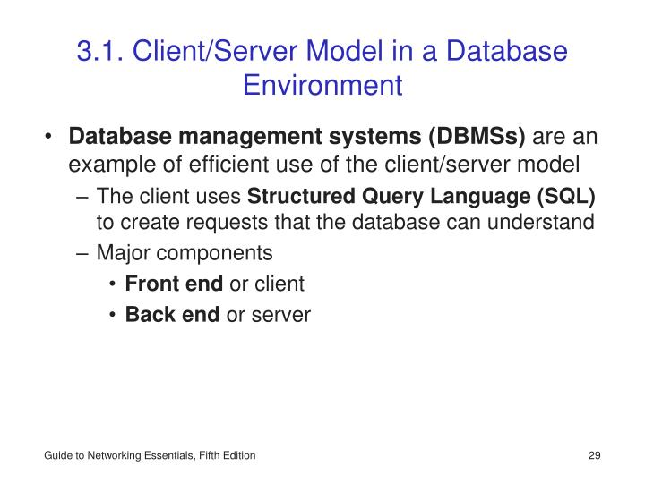 3.1. Client/Server Model in a Database Environment