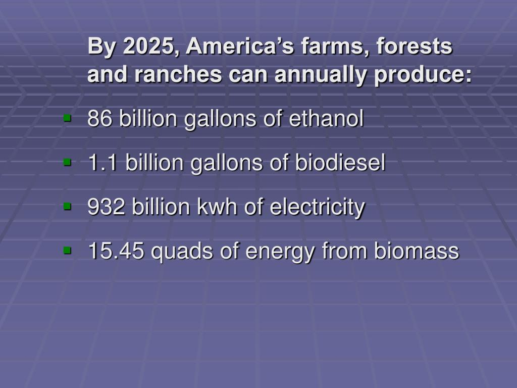 By 2025, America's farms, forests and ranches can annually produce: