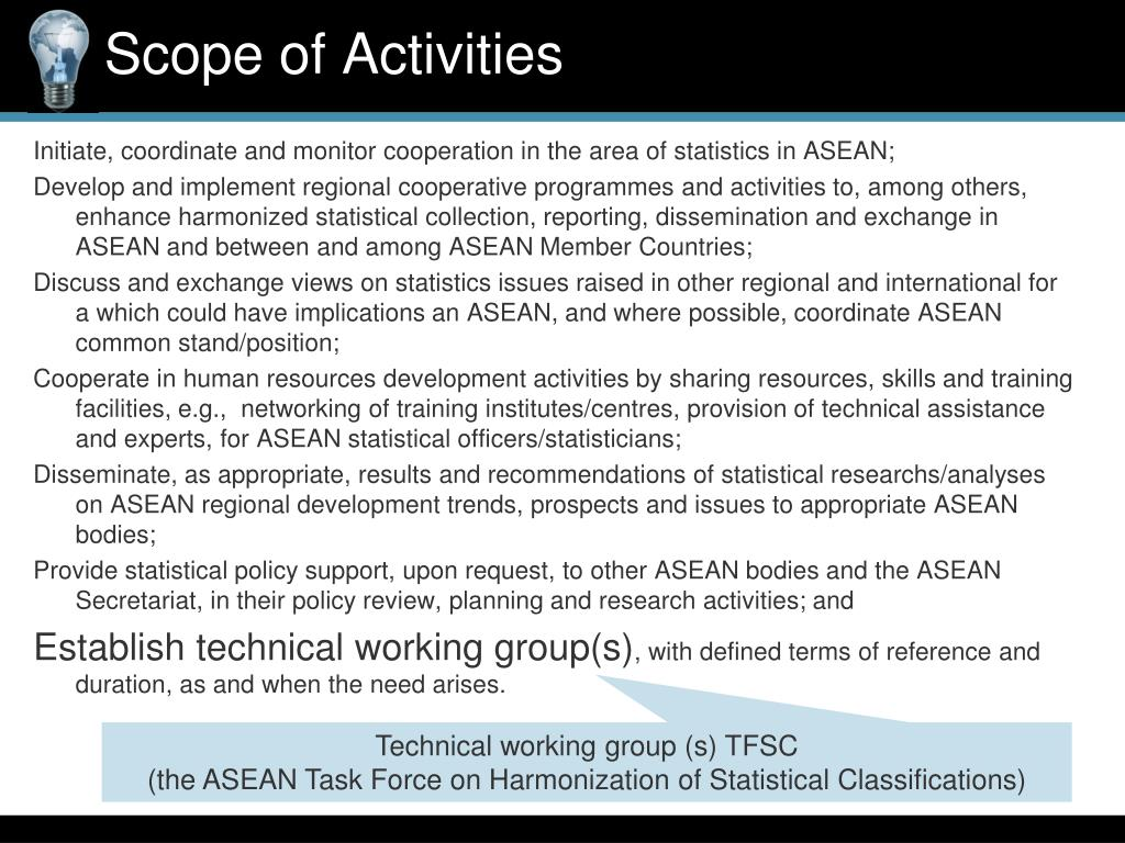 Initiate, coordinate and monitor cooperation in the area of statistics in ASEAN;