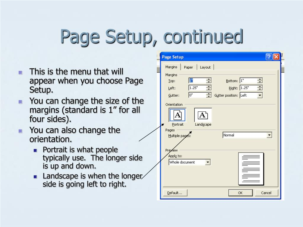This is the menu that will appear when you choose Page Setup.