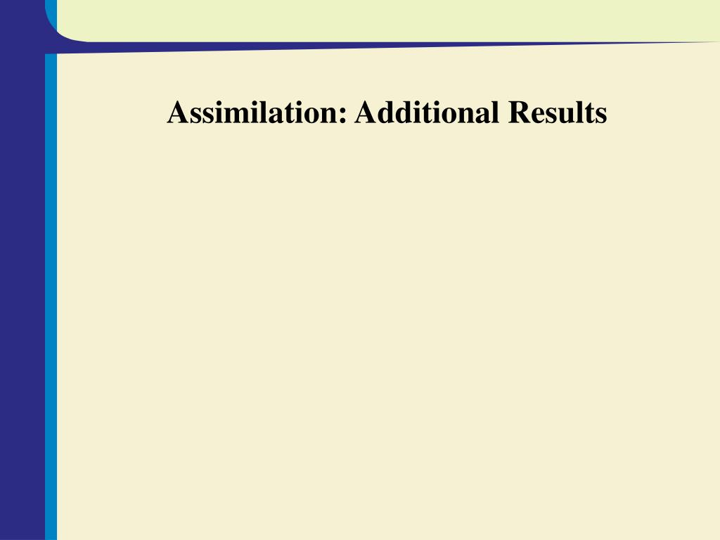 Assimilation: Additional Results