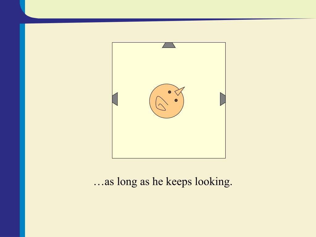 …as long as he keeps looking.