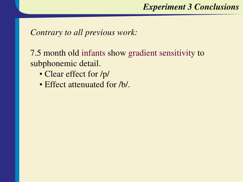 Experiment 3 Conclusions