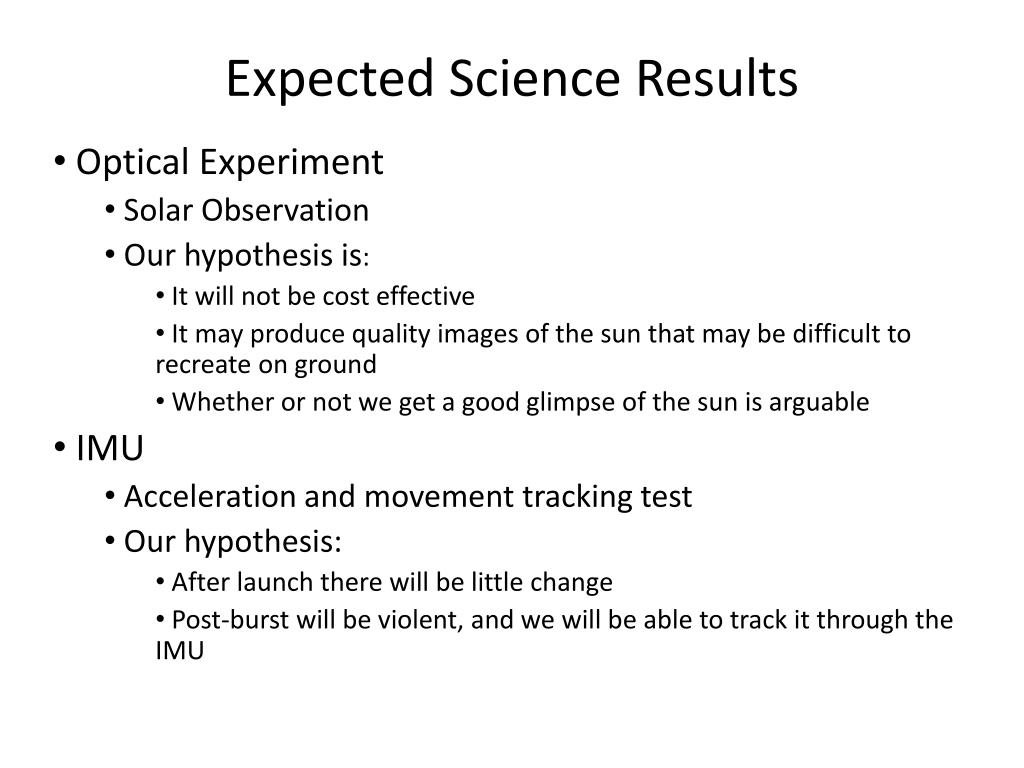 Expected Science Results
