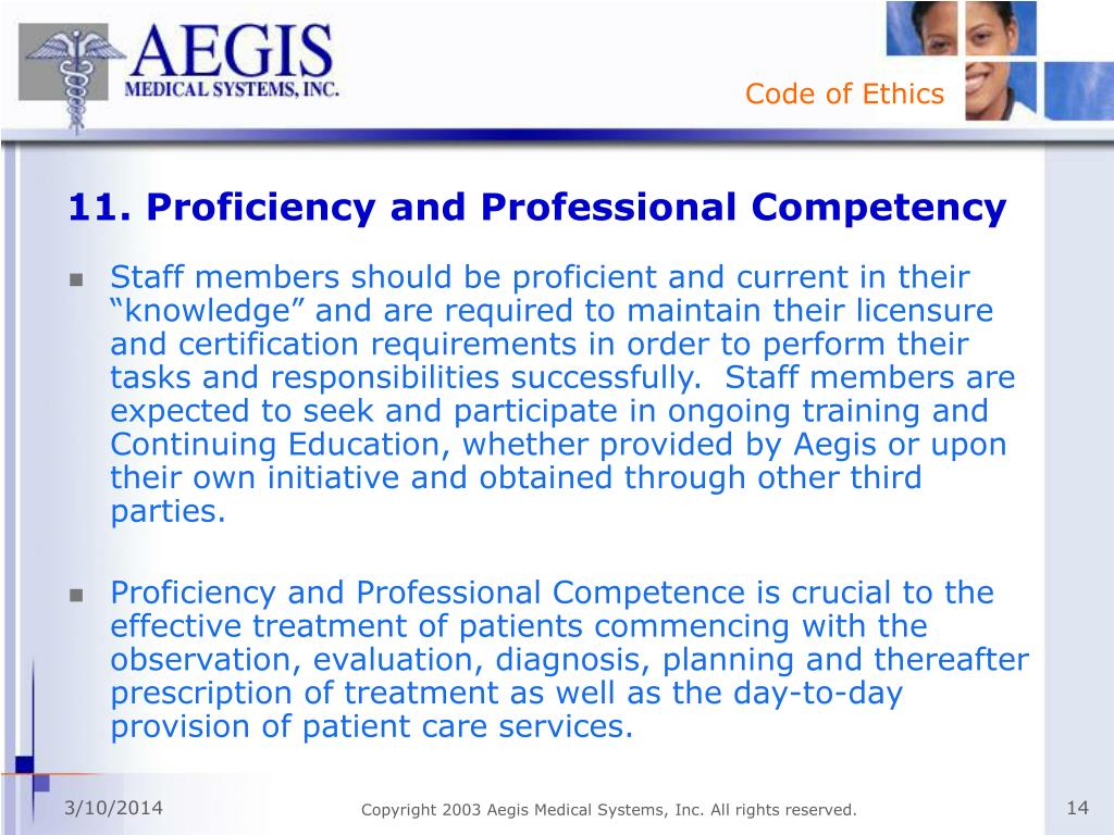 11. Proficiency and Professional Competency
