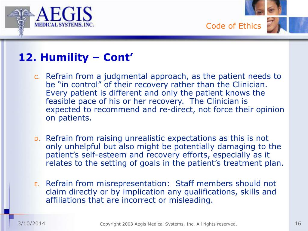 12. Humility – Cont'