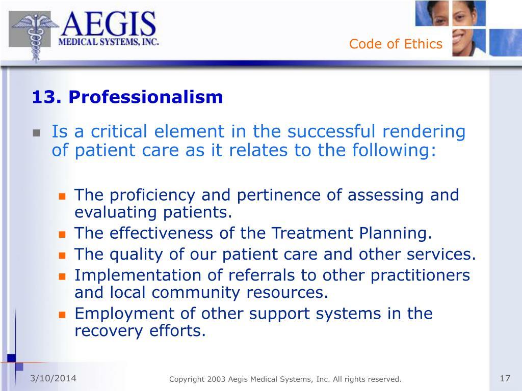 13. Professionalism