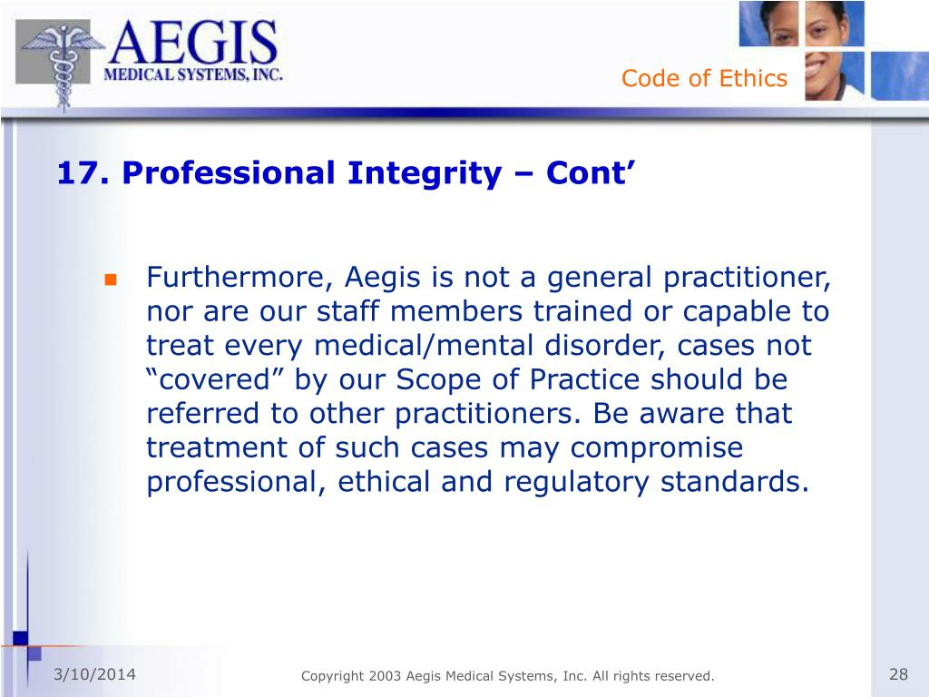 17. Professional Integrity – Cont'
