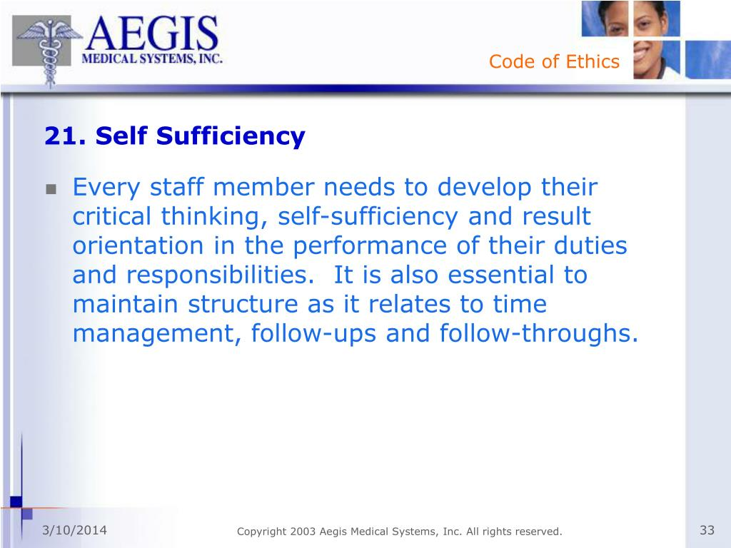 21. Self Sufficiency