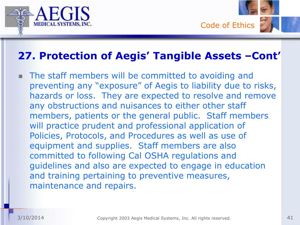 27. Protection of Aegis' Tangible Assets –Cont'