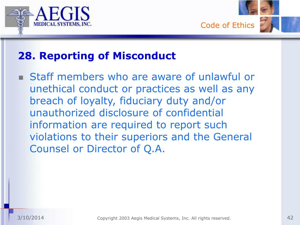 28. Reporting of Misconduct