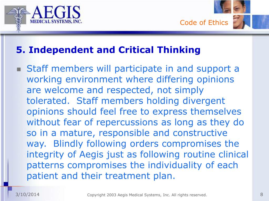 5. Independent and Critical Thinking
