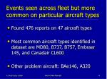 events seen across fleet but more common on particular aircraft types