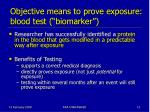 objective means to prove exposure blood test biomarker
