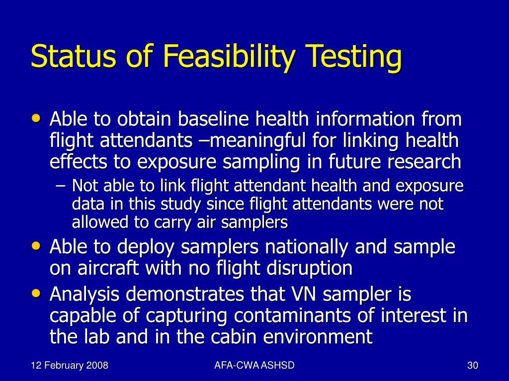 Status of Feasibility Testing
