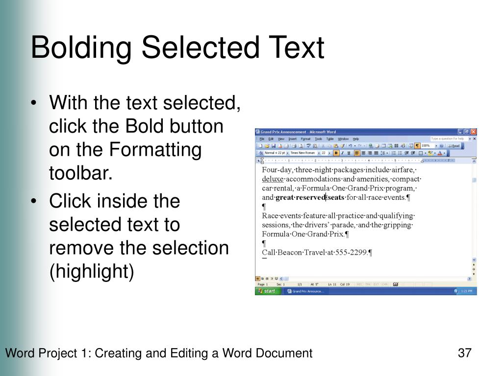Bolding Selected Text