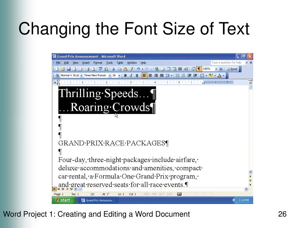 Changing the Font Size of Text