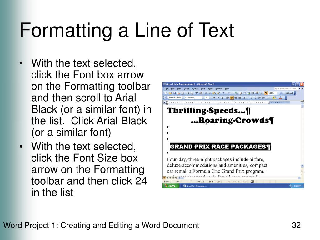 Formatting a Line of Text